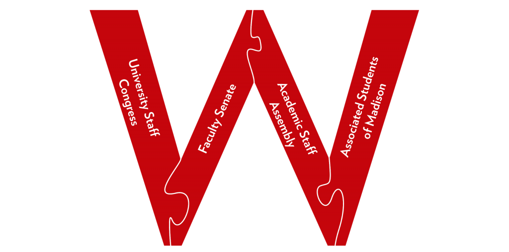 Shared governance structure at UW-Madison; a letter W made up of puzzle pieces, each representing a different branch of shared governance